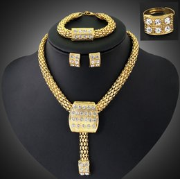 Wholesale Wholesale Costume Rhinestone Animal Jewelry - Crystal Wedding Dress Accessories Costume Jewelry Sets 18K Gold Plated Statement Necklace Ring Earrings Bracelet African Jewelry Sets