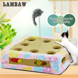 Wholesale Mouse House - Paw Print Cat Toy pink blue plush Cat Scratching Post Protecting Furniture platform Grinding Claws Cat Scratcher Toy interactive mice toy