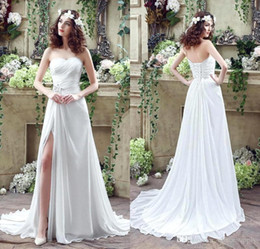 Wholesale flow wedding - 2016 Beach Flow Chiffon High Split Wedding Dresses Sweetheart Pleats Beaded Sequins Sexy Bohemian Bridal Gowns with Sweep Train CPS238