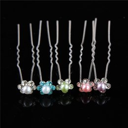 Wholesale Metal Crystal Hair Clip - Delicate Women Fashion Hair Bands Wedding Bridal Hair Pin Clear Crystal Rhinestone Pearl Hairpins Clips Hair Care Styling Barrettes Jewelry