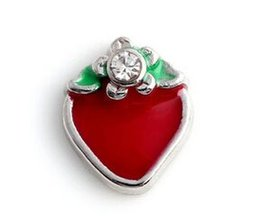 Wholesale Glass Fruit Charm - Wholesale 20PCS lot Fruit Strawberry Charm, DIY Alloy Floating Charms Fit For Magnetic Glass Living Locket Pendant