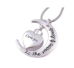 Wholesale Urn Funeral - I love you to the Moon Memorial Cremation Jewelry Stainless Steel Funeral Ashes Urn Pendant Necklace