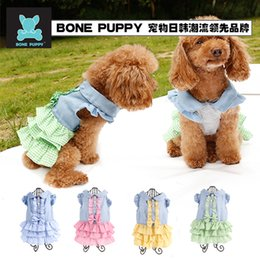 Wholesale Cat Blue Costume - Free shipping !!! BONEPUPPY Designer Pet Clothes Cute Dog Cat Puppy Dress