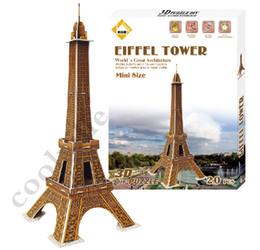 Wholesale 3d Puzzles Paris - 3D puzzle world famous buildings Paris Eiffel Tower 3d puzzle paper children creative toys for adults kids birthday kids gift