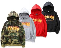 Wholesale Black Jacket Men Flame - 2018 new winter sweater hooded flame tide brand men and women head long sleeved jacket couples