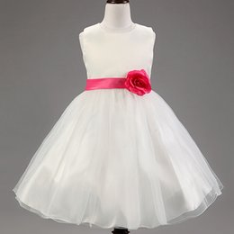 Wholesale Girls Cheap Clothes Free Shipping - Cheap Free Shipping White Princess Flower Girls Dress Party Evening Elegant Baby Girls Dress White Children's Clothing Bow Sash YM087