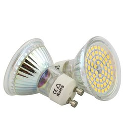 Wholesale Fixture Cover - DHL Free Shipping 6W AC85-265V GU10 MR16 E27 Led Spotlight High SMD2835 White Warm White Led Bulb Glass Body With Cover Home Lamp Fixture