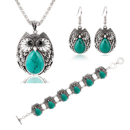 Wholesale Owl Earrings China - Summer Style Jewelry Sets Vintage Green & Red Stone Pendant Necklace Owl Drop Earrings Charm Bracelet For women