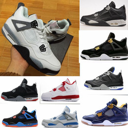 Wholesale Pure White Shoes Men - WITH BOX 4 Basketball Shoes men and women retro 4s Pure Money Royalty White Cement Premium Black Bred Red Sports Sneakers