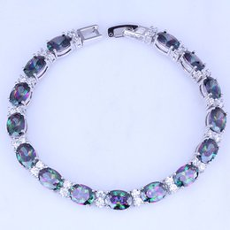Wholesale Silver Oval Settings - Wholesale & Retail Oval Mystic Topaz & Cubic Zirconia Silver Bracelets Chain Length 21 CM Free Gift Bag B0046