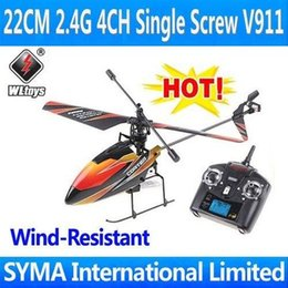 Wholesale V911 Rc Helicopter - Wholesale-WL Toys V911 4CH 2.4G Best Single Screw Blade Gyro LCD Controller Mini Indoor Outdoor RTF Remote Control Electric RC Helicopter