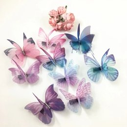 Wholesale Wholesale Butterfly Earrings - Mix 100pcs =10 designs 3D Thin Double Layers Veil Crystals Butterfly DIY Jewelry Findings for Clip Earrings Hairband Butterflies Art Decor