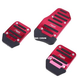 Wholesale car footrest - 3 Pcs Aluminum Universal Red Non-Slip Car Brake Pedal Cover Set Kit Car Accelector Footrest Pedals Accessories