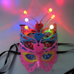 Wholesale Half Mask Butterfly - Light Up Flashing Blinking LED Butterfly Mask Adult Kids Party Women Girls Holloween Carnival Decor Fun