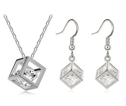 Wholesale Genuine 925 Silver Pendants - Happiness Rubik Cube Jewelry Sets Genuine Fine 925 Silver Cubic Zirconia Pendant Necklace Hook Earrings Set With Chain