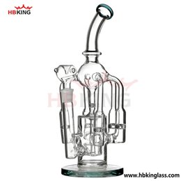 Wholesale Interior Glass - female joint cyclone helix bongs interior showerhead glass smoking water pipe inlinfer disffusser bongs oil rigs hitman recycler hbking