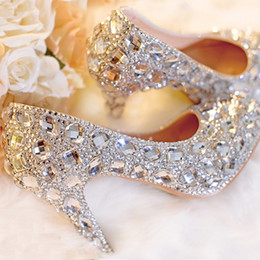 Zapatos de boda de plata Clear Rhinestone plataforma cerrada Toe 3
