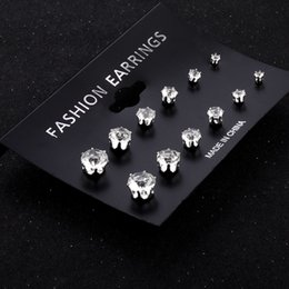 Wholesale Cheapest White Diamond - Cheapest 3-8 mm High Quanlity fashion Stud Bohemian styles Claw diamond stud earrings 6 pairs   sets for female Evening dress Ear jewelry