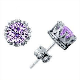 Wholesale Ear Accessories Piercings - Crown Earring Stud Ear Nail Simple Silver Plated Design Huggie Purple Crystal Earrings Accessories Set for Women Pierced Ears New Jewelry