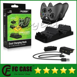 Wholesale Xbox Charging - DOBE Dual Charging Dock Controllers Charger & 2 Rechargeable Batteries Charging Cable Charge Kit For Xbox One With Retail Box