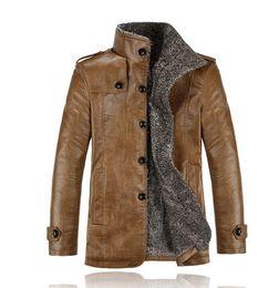 Wholesale Lambs Skin Leather - Fall-PU Leather Jacket Men Winter Jackets and Coats Thickening Wool Windbreak Waterproof Warm Skin Lamb Fur Trench Coat Plus Size 3XL