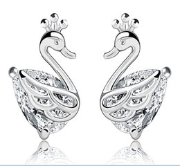 Wholesale 925 Swan Earring - Fine 925 Sterling Silver Jewelry Earring Delicate White Crystal Swan Charm Earrings Studs Wholesale 5 Pairs lot