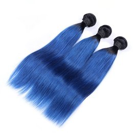 Wholesale Two Tone Blue Color Weaves - Top Quality Ombre Brazilian Virgin Hair Straight 3PCS Two Tone Blue Ombre Brazilian Hair Products Human Hair weaves