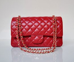 Wholesale Diamond Quilted - Women Classic Lambskin   Caviar Leather Double Flaps Bag Quilted Flap Chain Plaid Gold   Silver Chain Handbag Jumbo Medium 25.5