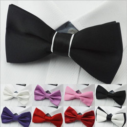 Wholesale Tuxedo Tie Free Shipping - 50pcs lot Upscale Black White Groom Groomsmen Tuxedo Suits Plain Bow Ties For Men 17 colors Available Free Shipping
