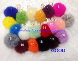 Wholesale Lovely Girl Wholesale - DHL free 100pcs 20 colors lovely 8CM Genuine Leather Rabbit fur ball plush key chain for car key ring Bag Pendant car keychain