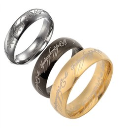 Wholesale Hobbit Silver - Fashion Titanium The Hobbit Lord of the Rings finger ring 6mm 18k gold silver black band rings for women movie jewelry 080095