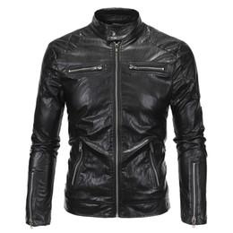 Wholesale Moto Coat - Wholesale- 2016 New Spring Autumn Leather Jacket Men Slim Standard Stand Collar Jacket Faux Leather Moto Coat Suede 18Y619