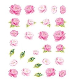 Wholesale Water Decals Rose - Wholesale- 1 Piece Nail Decorations Nail Sticker NEW Pink Rose Beauty Designs of Nail Art Water Transfer Decals Tools Plish Tips