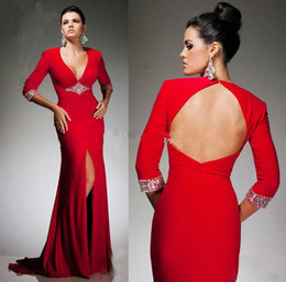 Wholesale Straight Slit Prom Dresses - Sexy American Style Red Chiffon Front Slit Evening Party Long Sleeve Dresses Beaded Open Back Dresses Straight Chiffon 2014 Newest