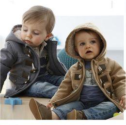 Wholesale Overcoat Jackets - 2015 Winter Fashion Horn Button Child Thickening Outerwear Overcoat Child Outerwear Boy Jacket kid winter fleece hoodie Retail