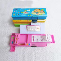 Cajas de lápices para niñas online-cajas de almacenamiento de Papelería creativas automáticas caja de lápiz lindo de la escuela del niño niña para estudiantes de plástico de doble cara regalo de 4 colores