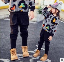 Wholesale Black Leggings Pockets - Children pencil pants Autumn Girls fashion black calf trousers Kids double pockets leggings Children drawstring pants C2366