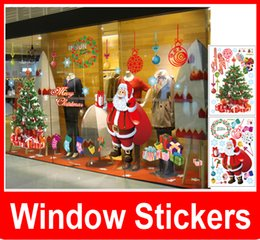 Wholesale Christmas Window Stickers Free - Fashion Christmas Wall Stick Santa Claus Christmas tree Removable Wall Sticker For Show Window Decoration Free shipping