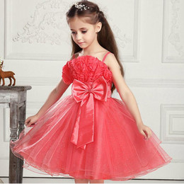 Wholesale Menina Flor - Flower girl dresses Kids Formal dress with Bow Rose Floral Sliver vestido da menina flor Princess dress for Girls Party dress