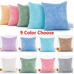 Wholesale 18x18 Pillow Cases - Home Brilliant Solid Decorative Pillow Case Striped Corduroy Plush Velvet Cushion Cover For Sofa Cream Cheese 18x18-inch 45cm*45cm XL-373