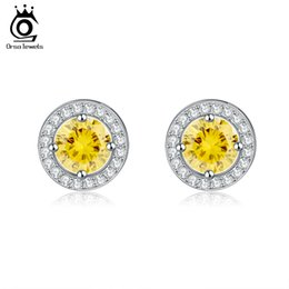 Wholesale Flowers For Cutting - ORSA Fashion Silver Earring Stud with Heart & Arrow Cut 0.75 ct Yellow Zircon Earring Micro Paved CZ Studs Earring for Women