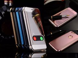 Wholesale Gold Plated Wallet - For Iphone 7 8 Iphone7 5 5S 6 6S Plus 6Plus Retail Box Plating Chrome skin Mirror View Flip Wallet case cover 1pcs 5pcs