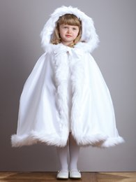 Wholesale White Faux Fur Jackets Kids - New Arrival Warm Hooded Children's White Satin Flower Girl Wedding Cloak With Faux Fur Trim Tea-Length Winter Kid Long Wraps Jacket