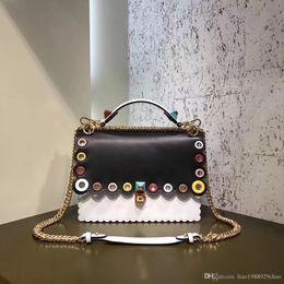 Wholesale Fe Bags - Top quality new Luxury Fe***New Women Shoulder Bag romantic Colorful Rivets Kan I same type Genuine Leather Ladies Cross Body Bag Twist lock