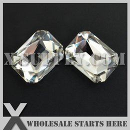 Wholesale Octagon Rectangle Rhinestones - DHL Free Shipping Preset Mounted Crystal Rhinestone Rectangle Octagon 18x27mm Crystal in NICKEL Sew on Setting for Bag,Shoe