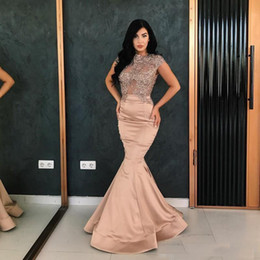 Wholesale Tight Evening Gowns - Vestido de festa Blush Pretty Long Evening Dresses Cap Sleeves Applique Lace Beads Tight Mermaid Formal Prom Gown 2018