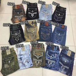 Wholesale Yellow Boys Trousers - Fashion Revival Mens Crystal Studs Robin Rock Revival Jeans Street Style Boy Jeans Denim Pants Designer Trousers Men's Size 30-42 New