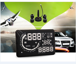 "Wholesale Fuel Vehicles - Wholesale-5.5"" head up display HUD Vehicle-Mounted HUD TPMS tire pressure detecting alarm OBDII data front HUD detect alarm FUEL speed"