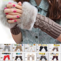 Wholesale knitted gloves wholesale - 2016 New Arrivals Women Lady Winter Knitted Fingerless gloves adult woman Faux Rabbit Fur Wrist Hand Warmer Gloves Mitten Free Shipping
