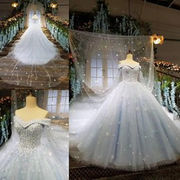 Wholesale Tulle Bridal Capes - 2018 New Arrival Vintage Arabic Wedding Dresses Light Blue Cape Ball Gown Court Train Lace up Back Bridal Gowns Wedding Gowns